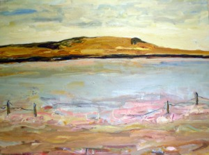 Pink Salt Lake - Coorong SA 2008, 1.2mx1m Mixed Media on Canvas